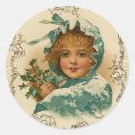 Pegatinas del navidad del Victorian Pegatinas Redondas