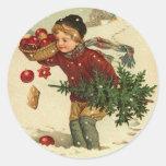 Pegatinas del navidad del Victorian para sus Pegatinas Redondas