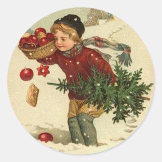 Pegatinas del navidad del Victorian para sus Pegatina Redonda