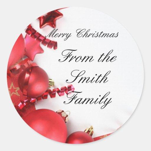 pegatinas del navidad etiqueta redonda
