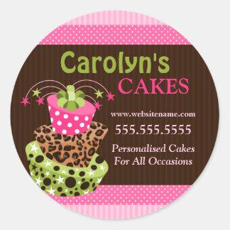 Pegatinas del negocio de la panadería de la torta pegatina redonda