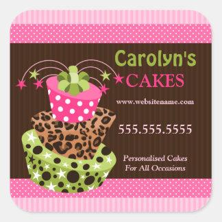 Pegatinas del negocio de la panadería de la torta calcomanía cuadradase