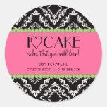 Pegatinas del negocio de la torta del ♥ I Etiquetas Redondas