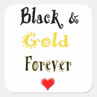 Pegatinas del negro y del oro para siempre calcomanía cuadrada personalizada