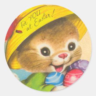 Pegatinas del niño del conejito de pascua del vint pegatina redonda