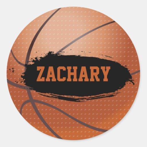 Pegatinas del nombre del baloncesto de Zacarias Pegatina Redonda