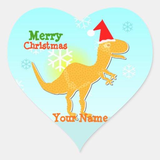 Pegatinas del nombre del corazón de T-Rex Dino de Pegatina En Forma De Corazón