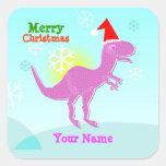 Pegatinas del nombre del dinosaurio de T-Rex de Pegatinas Cuadradas Personalizadas