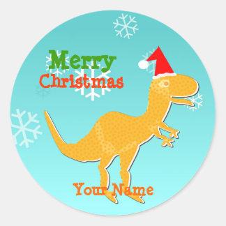 Pegatinas del nombre del dinosaurio del dibujo pegatina redonda