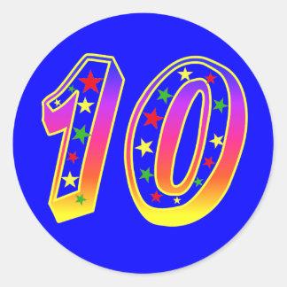 Pegatinas del número 10 de las estrellas pegatina redonda