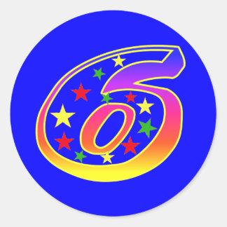 Pegatinas del número 6 de las estrellas pegatinas redondas