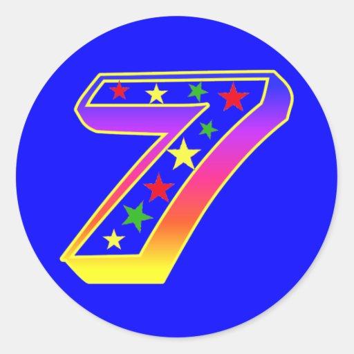 Pegatinas del número 7 de las estrellas pegatina redonda