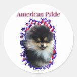 Pegatinas del orgullo de Pomeranian Etiqueta Redonda