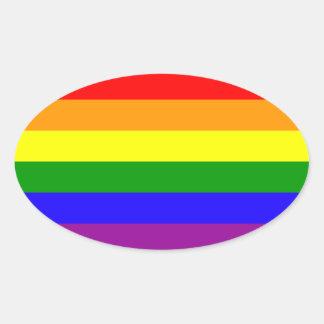 Pegatinas del orgullo del arco iris - óvalo pegatina ovalada
