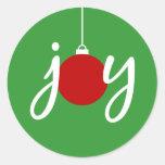 Pegatinas del ornamento del navidad de la alegría pegatinas redondas