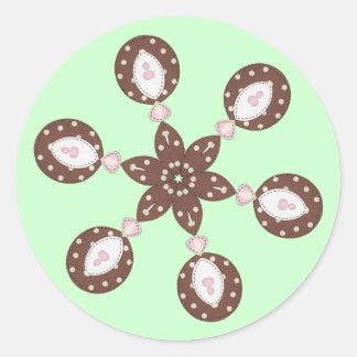 Pegatinas del ornamento etiquetas redondas