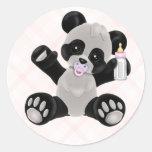 Pegatinas del oso de panda de la niña pegatinas redondas