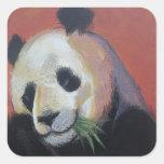Pegatinas del oso de panda pegatina cuadrada