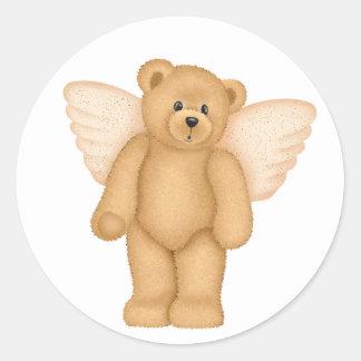 Pegatinas del oso de peluche del ángel 4 pegatina redonda