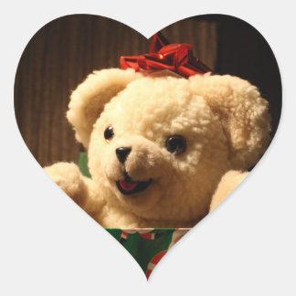 Pegatinas del oso de peluche del navidad pegatina corazón