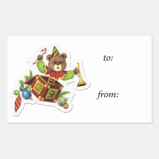 Pegatinas del oso de peluche del navidad del pegatina rectangular
