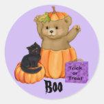 Pegatinas del oso del abucheo de Halloween Pegatina Redonda