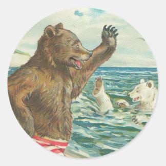 Pegatinas del oso del vintage pegatina redonda