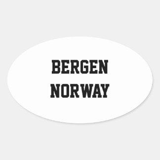Pegatinas del óvalo de Bergen Noruega Pegatina Ovalada
