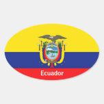 Pegatinas del óvalo de la bandera de Ecuador Pegatina Ovalada