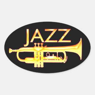 Pegatinas del óvalo de la trompeta del jazz pegatina ovalada