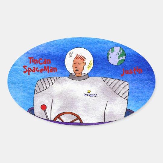 Pegatinas del óvalo del astronauta de TinCan Pegatina Ovalada