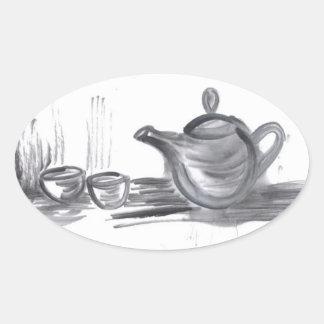 Pegatinas del óvalo del tiempo del té pegatina ovaladas personalizadas