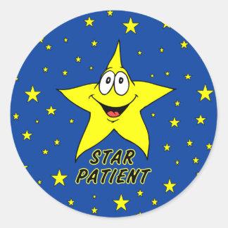 Pegatinas del paciente de la estrella pegatina redonda
