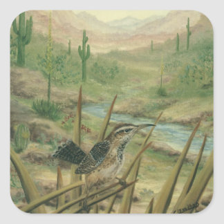 Pegatinas del pájaro del cactus del desierto calcomanías cuadradas personalizadas