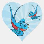 Pegatinas del pájaro del trago del tatuaje del calcomania corazon personalizadas