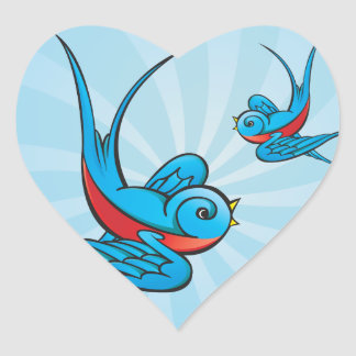 Pegatinas del pájaro del trago del tatuaje del pegatina en forma de corazón