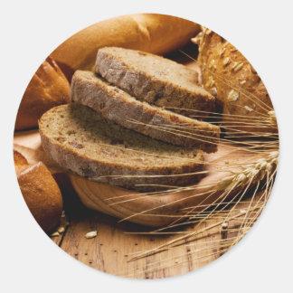 Pegatinas del pan y del trigo etiqueta redonda