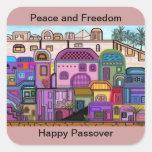 Pegatinas del Passover de la paz y de la libertad Colcomanias Cuadradases