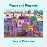 Pegatinas del Passover de la paz y de la libertad Calcomania Cuadrada Personalizada