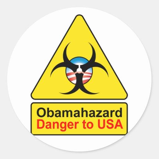 Pegatinas del peligro de Obama Pegatina Redonda