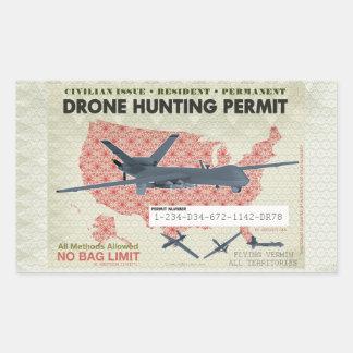 Pegatinas del permiso de la caza del abejón rectangular pegatina