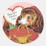 Pegatinas del perrito de la tarjeta del día de San Etiqueta Redonda