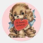 Pegatinas del perrito de la tarjeta del día de San Pegatina Redonda