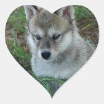 Pegatinas del perrito de lobo pegatina en forma de corazón