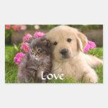 Pegatinas del perrito y del gatito del golden rectangular altavoz