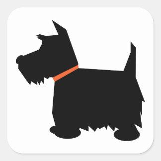 Pegatinas del perro de la silueta del negro del calcomania cuadrada personalizada