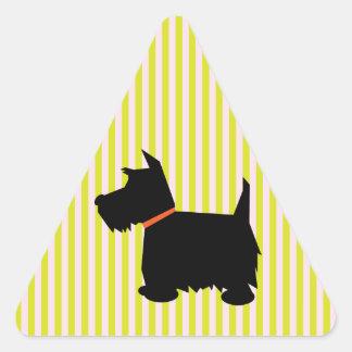 Pegatinas del perro de la silueta del negro del pegatina triangular