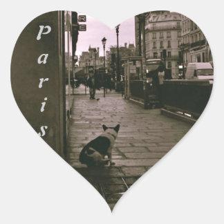 Pegatinas del perro de París del corazón Pegatina En Forma De Corazón
