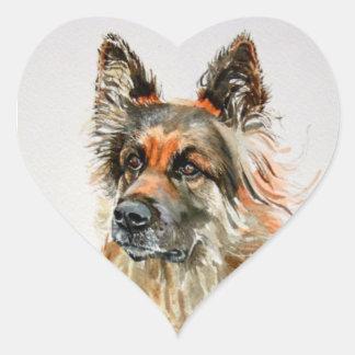 Pegatinas del perro de pastor alemán pegatina en forma de corazón