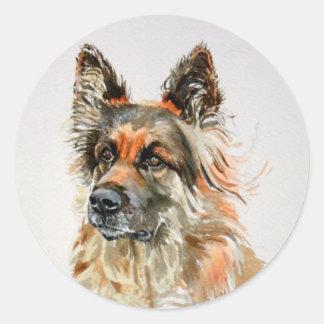 Pegatinas del perro de pastor alemán pegatina redonda
